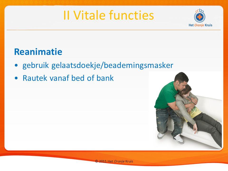 II Vitale functies Reanimatie gebruik gelaatsdoekje/beademingsmasker