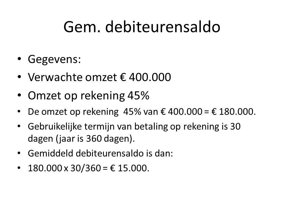 Gem. debiteurensaldo Gegevens: Verwachte omzet € 400.000