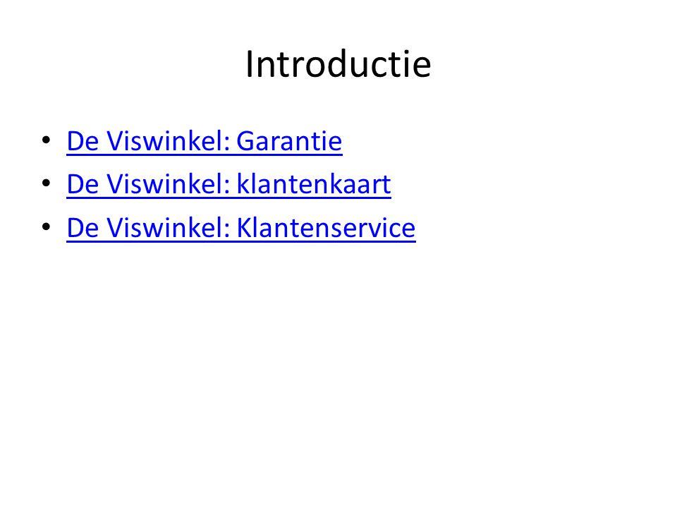 Introductie De Viswinkel: Garantie De Viswinkel: klantenkaart