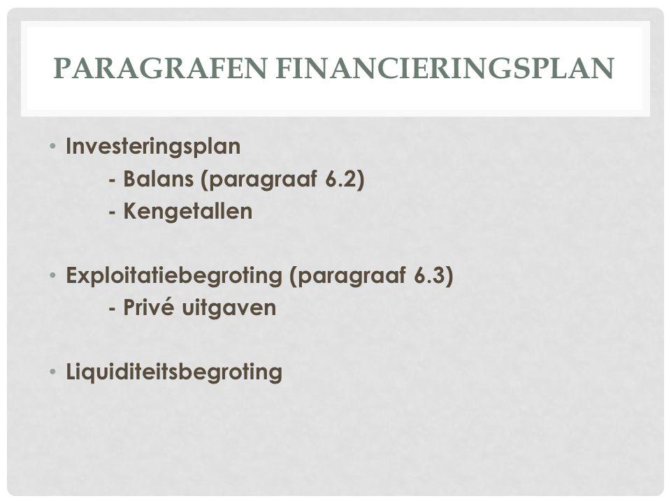 Paragrafen Financieringsplan