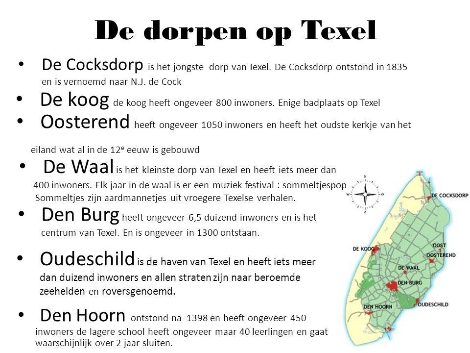 De dorpen op Texel De Cocksdorp is het jongste dorp van Texel. De Cocksdorp ontstond in 1835 en is vernoemd naar N.J. de Cock.