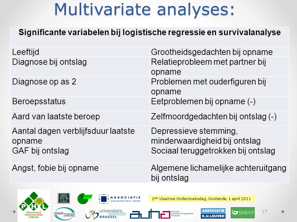 Multivariate analyses: