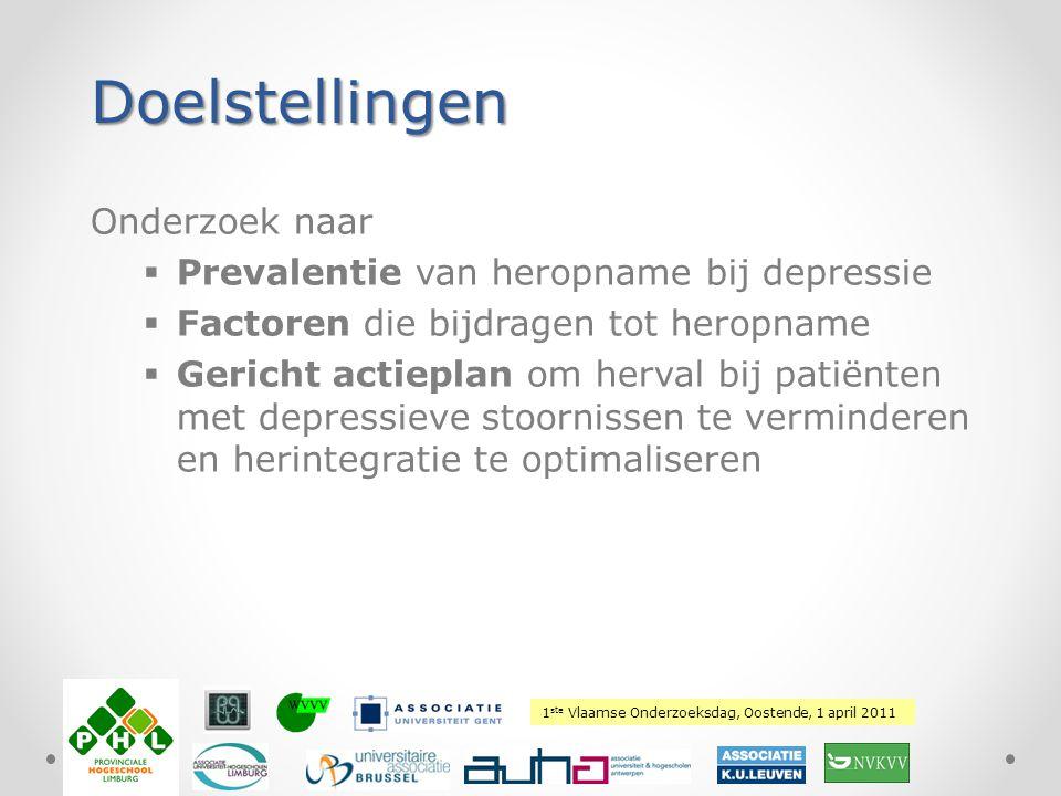 Doelstellingen Onderzoek naar Prevalentie van heropname bij depressie