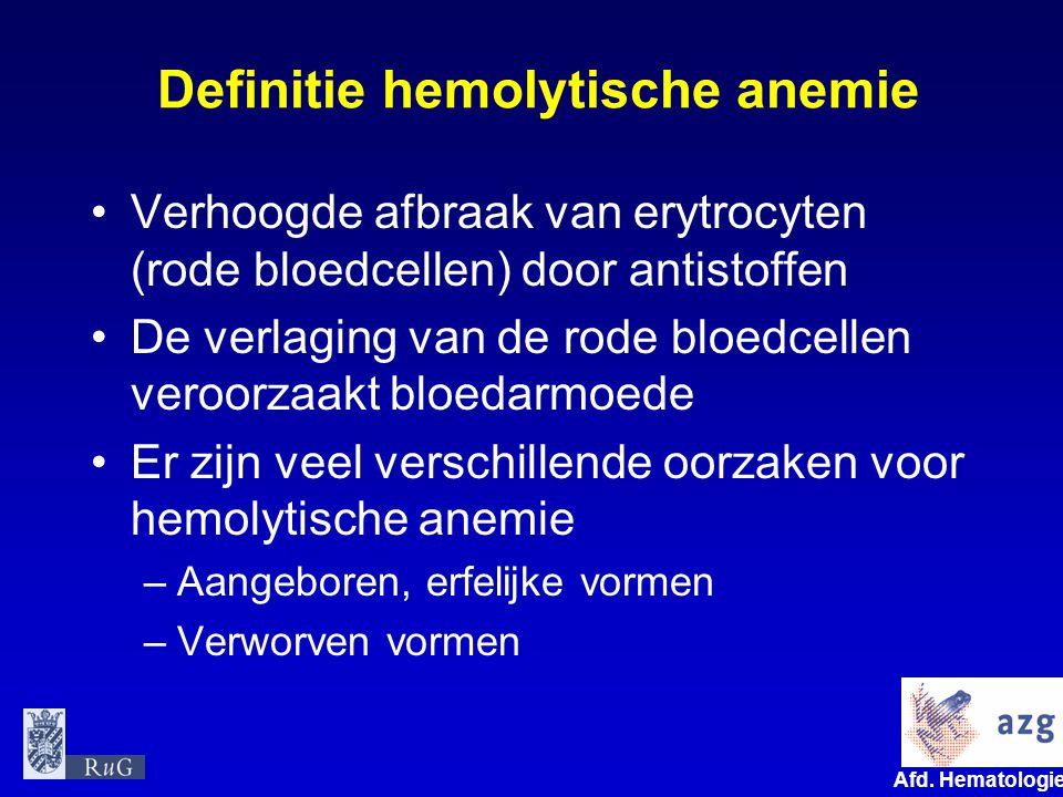 Definitie hemolytische anemie