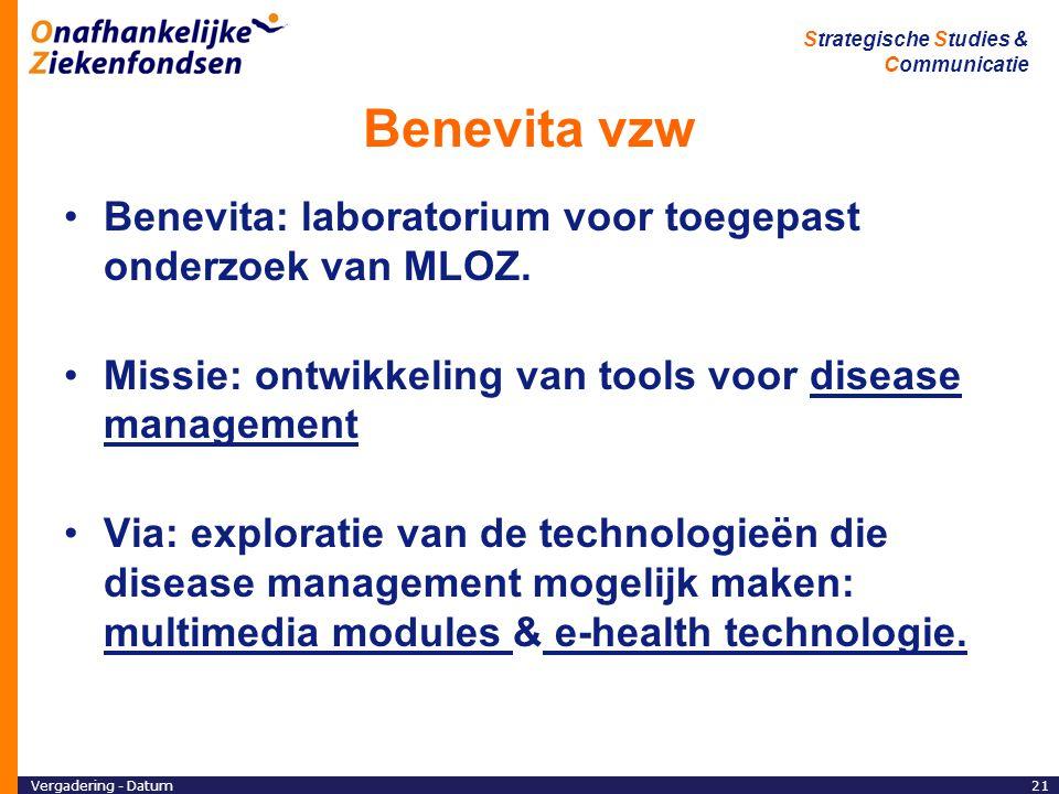 Benevita vzw Benevita: laboratorium voor toegepast onderzoek van MLOZ.