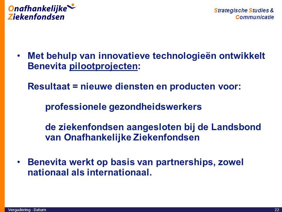 Met behulp van innovatieve technologieën ontwikkelt Benevita pilootprojecten: Resultaat = nieuwe diensten en producten voor: professionele gezondheidswerkers de ziekenfondsen aangesloten bij de Landsbond van Onafhankelijke Ziekenfondsen