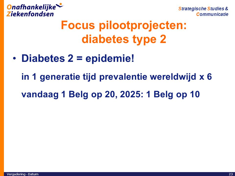 Focus pilootprojecten: diabetes type 2