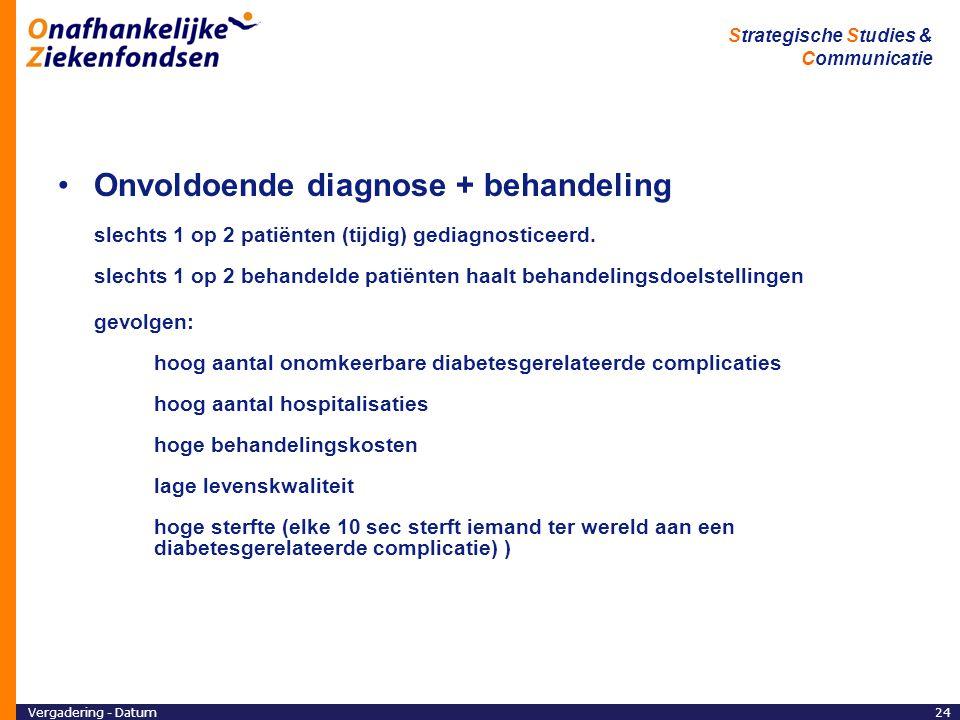 Onvoldoende diagnose + behandeling slechts 1 op 2 patiënten (tijdig) gediagnosticeerd. slechts 1 op 2 behandelde patiënten haalt behandelingsdoelstellingen