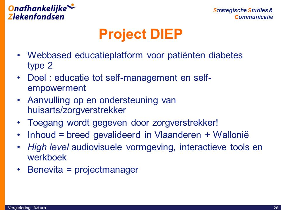 Project DIEP Webbased educatieplatform voor patiënten diabetes type 2