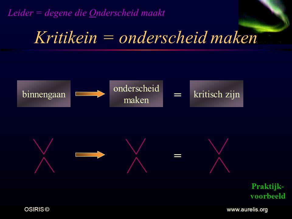 Kritikein = onderscheid maken