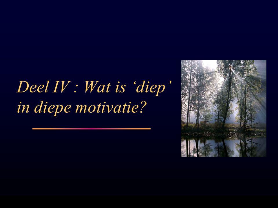 Deel IV : Wat is 'diep' in diepe motivatie