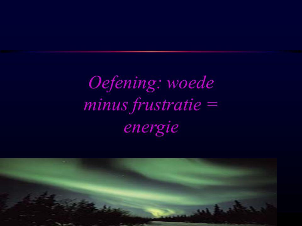 Oefening: woede minus frustratie = energie