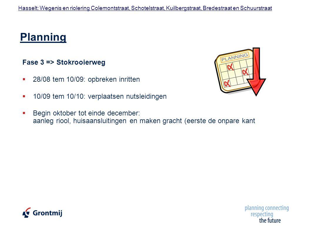Planning Fase 3 => Stokrooierweg 28/08 tem 10/09: opbreken inritten