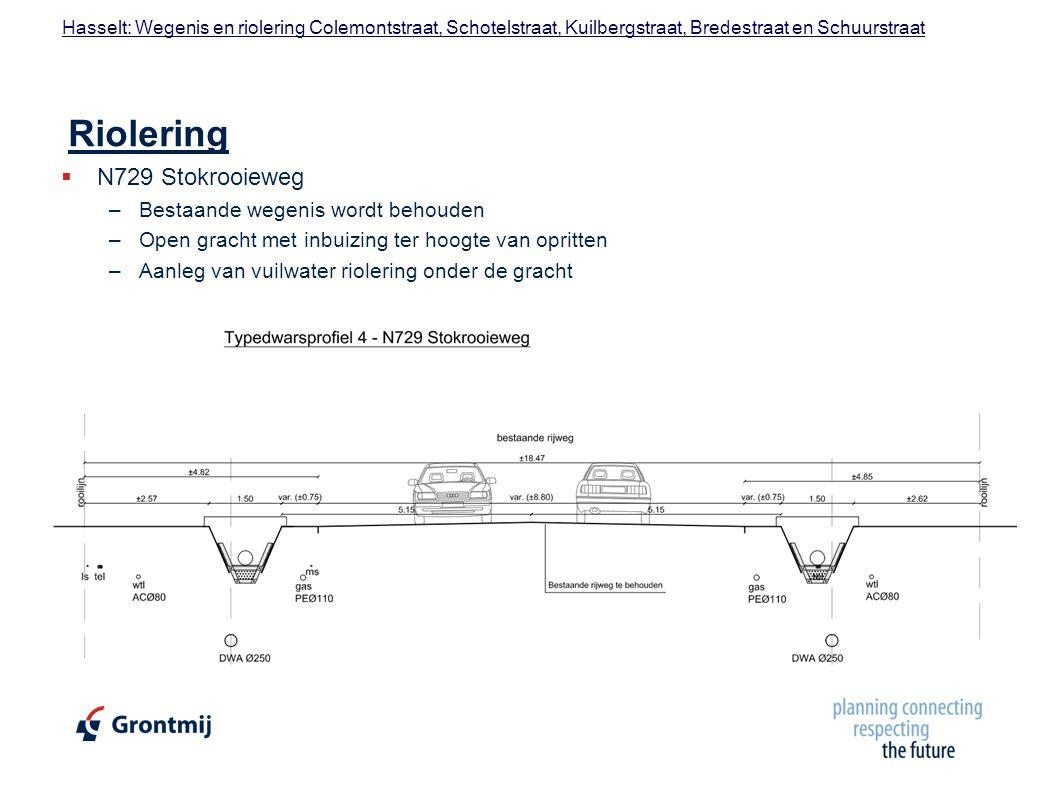 Riolering N729 Stokrooieweg Bestaande wegenis wordt behouden