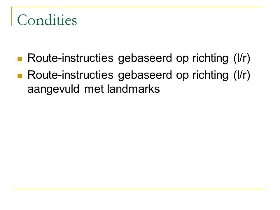 Condities Route-instructies gebaseerd op richting (l/r)