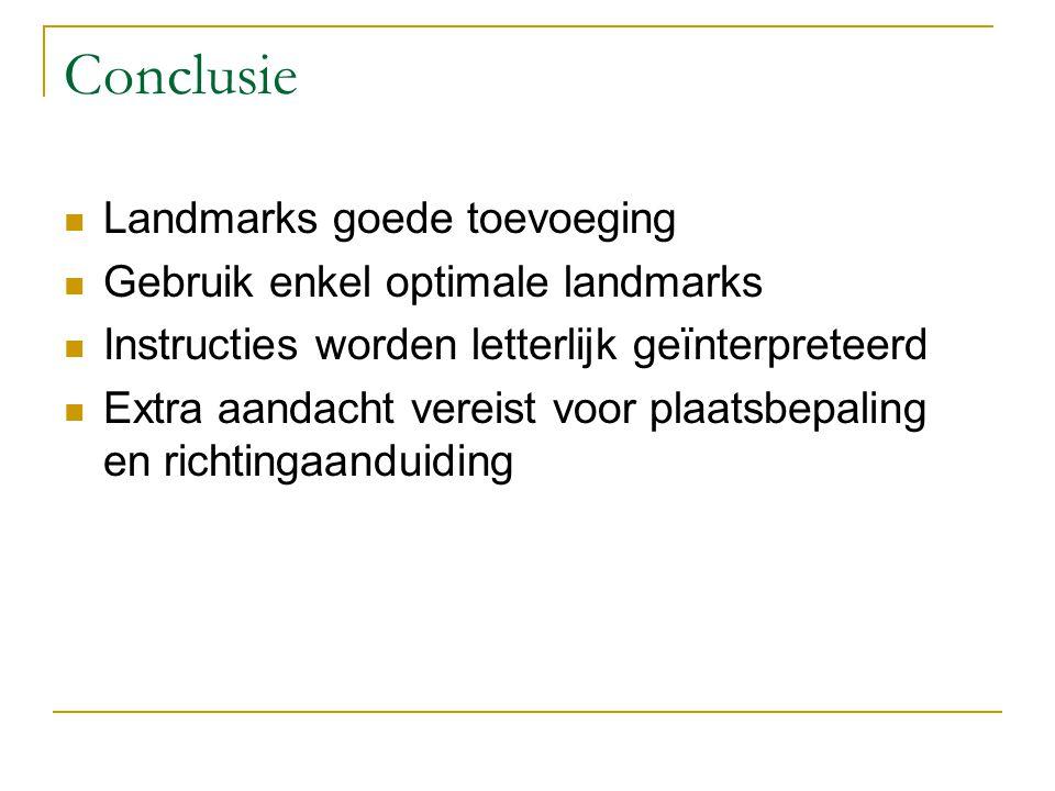 Conclusie Landmarks goede toevoeging Gebruik enkel optimale landmarks