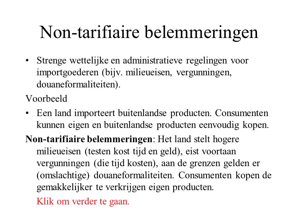 Non-tarifiaire belemmeringen