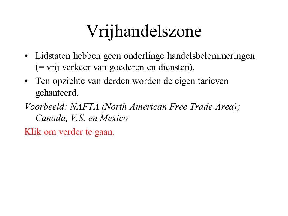 Vrijhandelszone Lidstaten hebben geen onderlinge handelsbelemmeringen (= vrij verkeer van goederen en diensten).