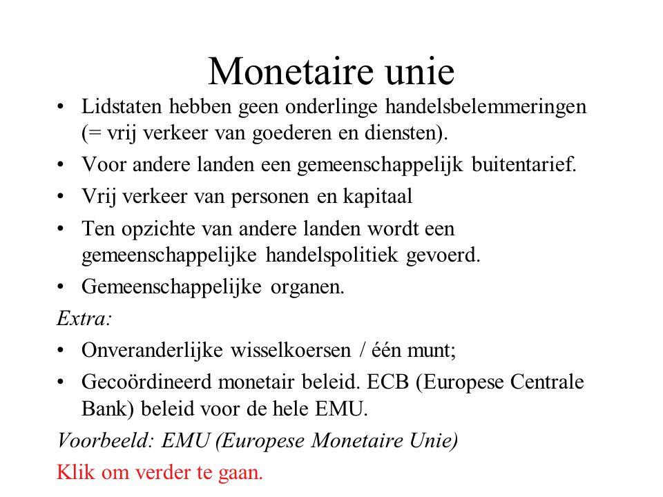 Monetaire unie Lidstaten hebben geen onderlinge handelsbelemmeringen (= vrij verkeer van goederen en diensten).