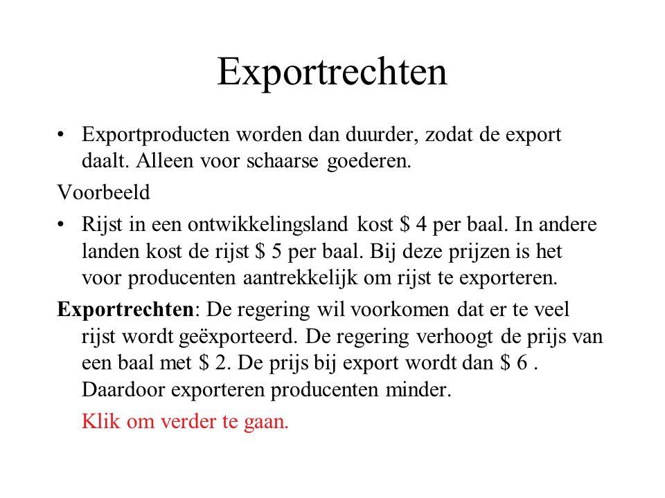 Exportrechten Exportproducten worden dan duurder, zodat de export daalt. Alleen voor schaarse goederen.