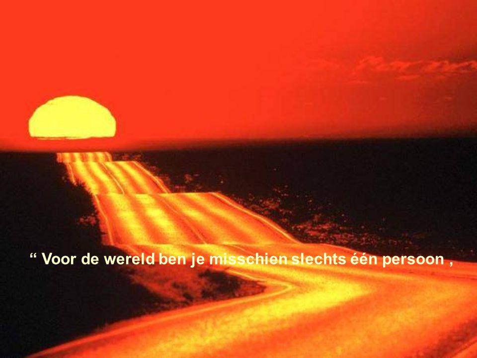 Voor de wereld ben je misschien slechts één persoon ,