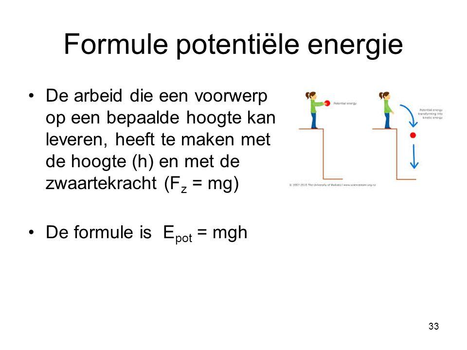 Formule potentiële energie