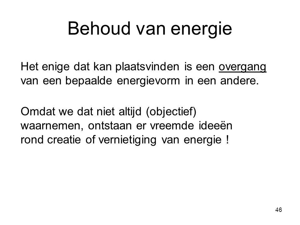 Behoud van energie Het enige dat kan plaatsvinden is een overgang van een bepaalde energievorm in een andere.