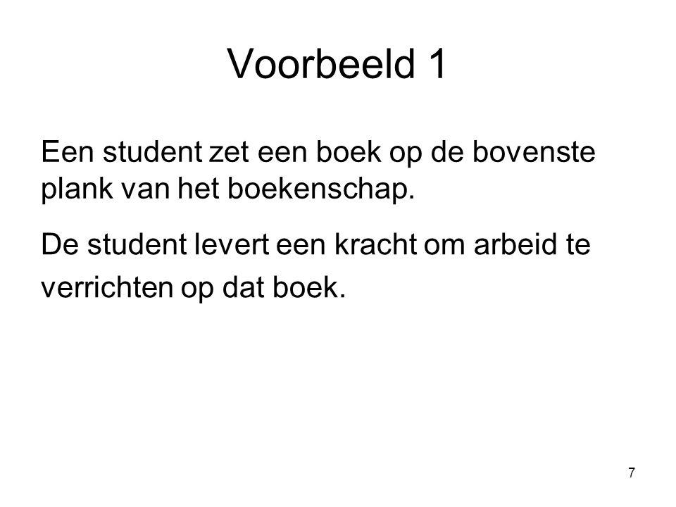 Voorbeeld 1 Een student zet een boek op de bovenste plank van het boekenschap. De student levert een kracht om arbeid te.