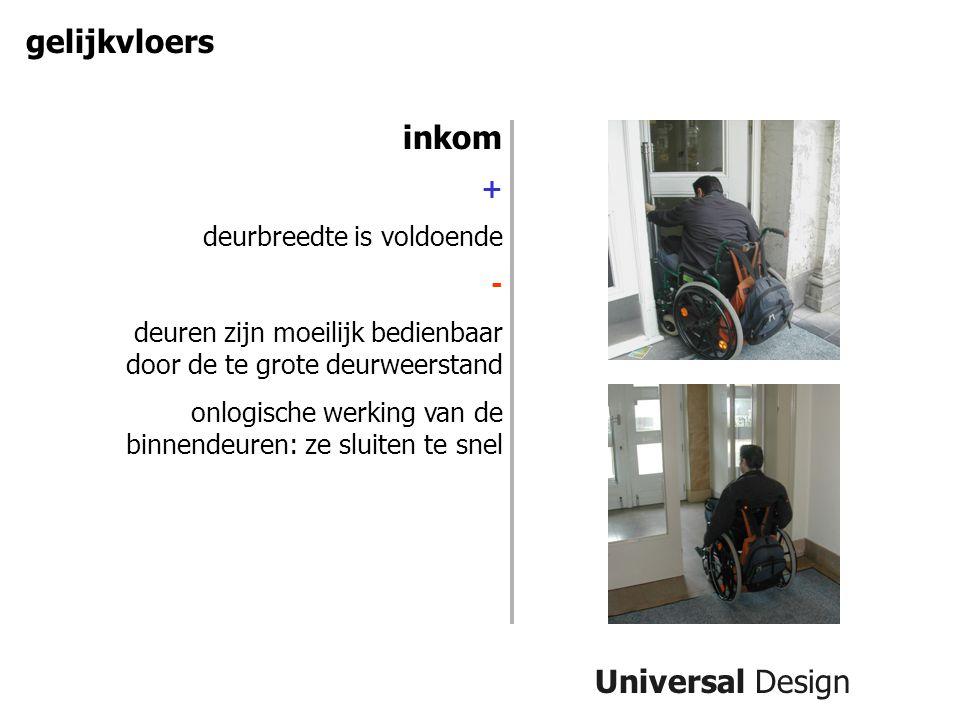 gelijkvloers inkom Universal Design + deurbreedte is voldoende -
