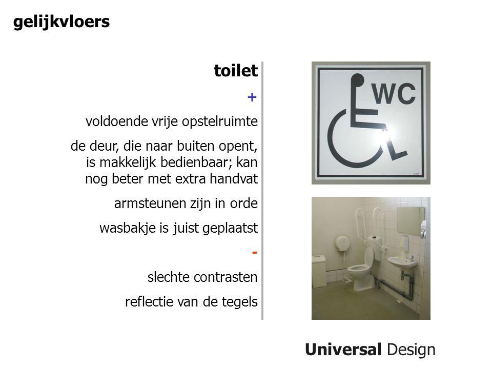 gelijkvloers toilet Universal Design + voldoende vrije opstelruimte