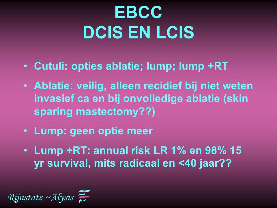 EBCC DCIS EN LCIS Cutuli: opties ablatie; lump; lump +RT
