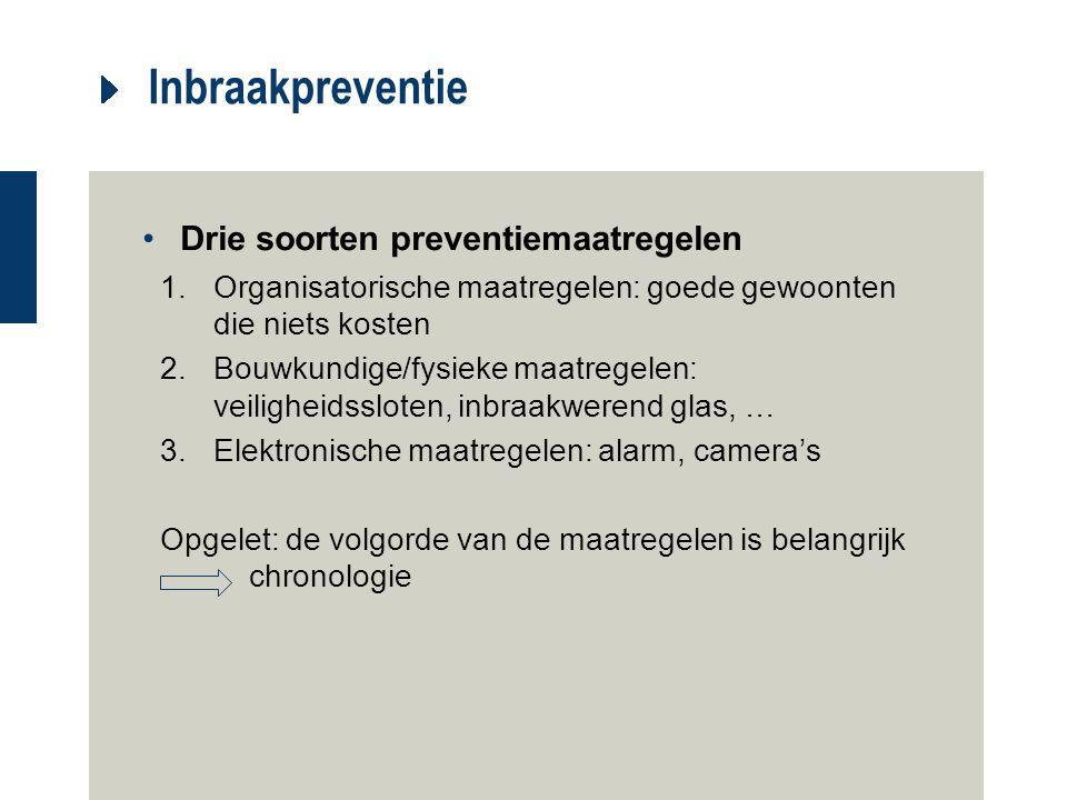Inbraakpreventie Drie soorten preventiemaatregelen