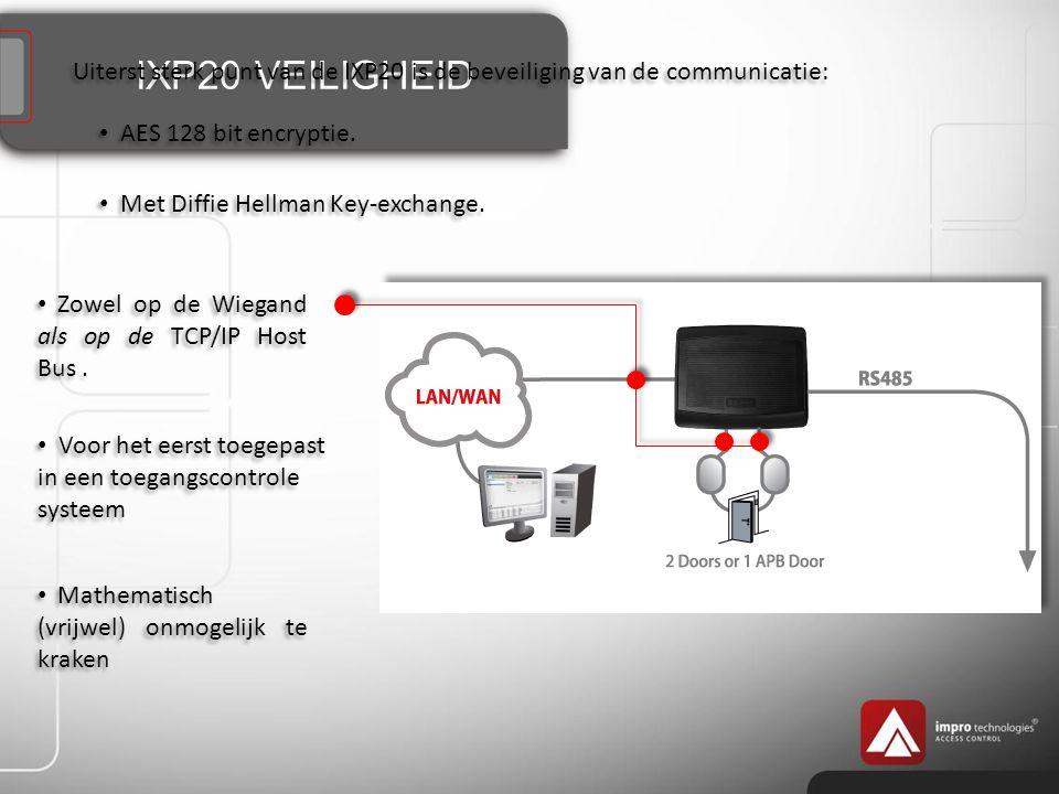 IXP20 VEILIGHEID Uiterst sterk punt van de IXP20 is de beveiliging van de communicatie: AES 128 bit encryptie.