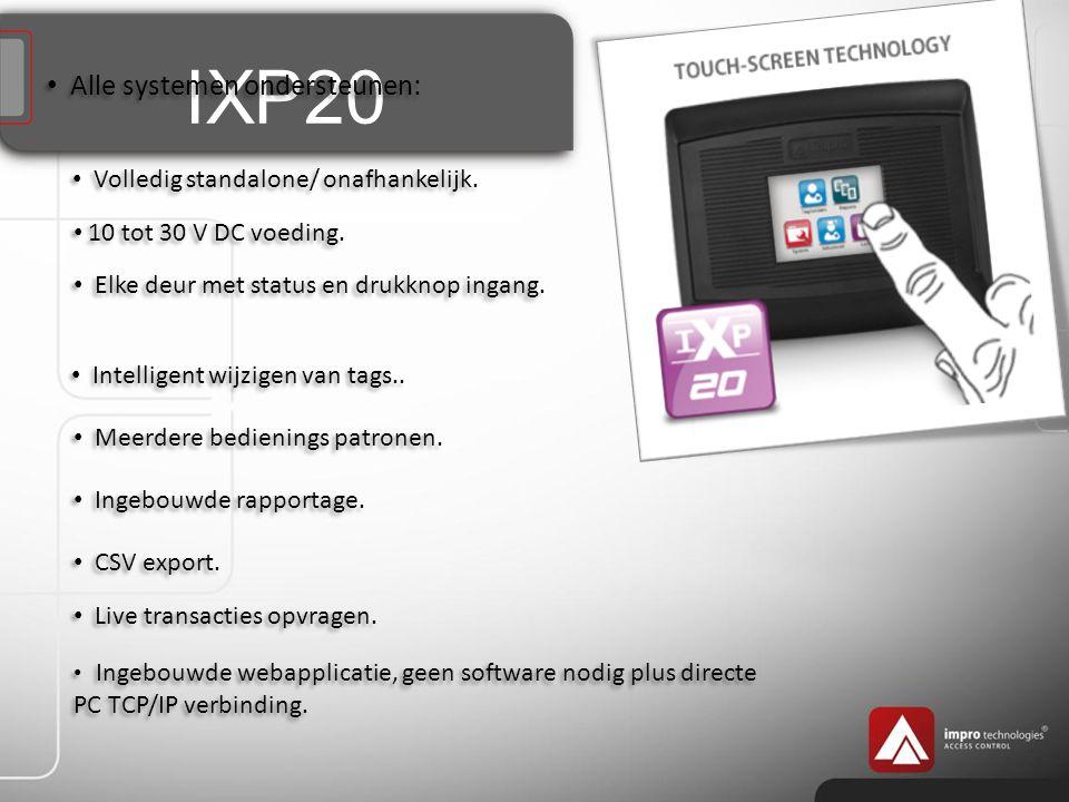 IXP20 Alle systemen ondersteunen: Volledig standalone/ onafhankelijk.