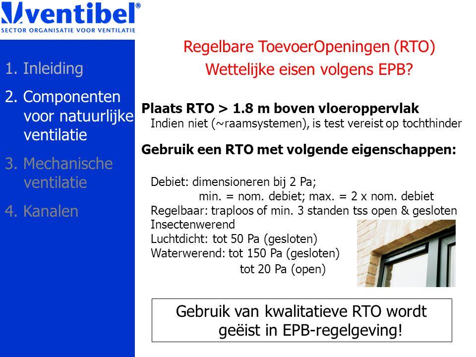 Regelbare ToevoerOpeningen (RTO) Wettelijke eisen volgens EPB