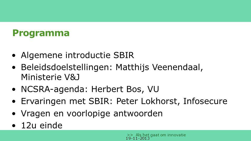 Programma Algemene introductie SBIR