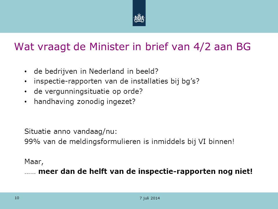 Wat vraagt de Minister in brief van 4/2 aan BG