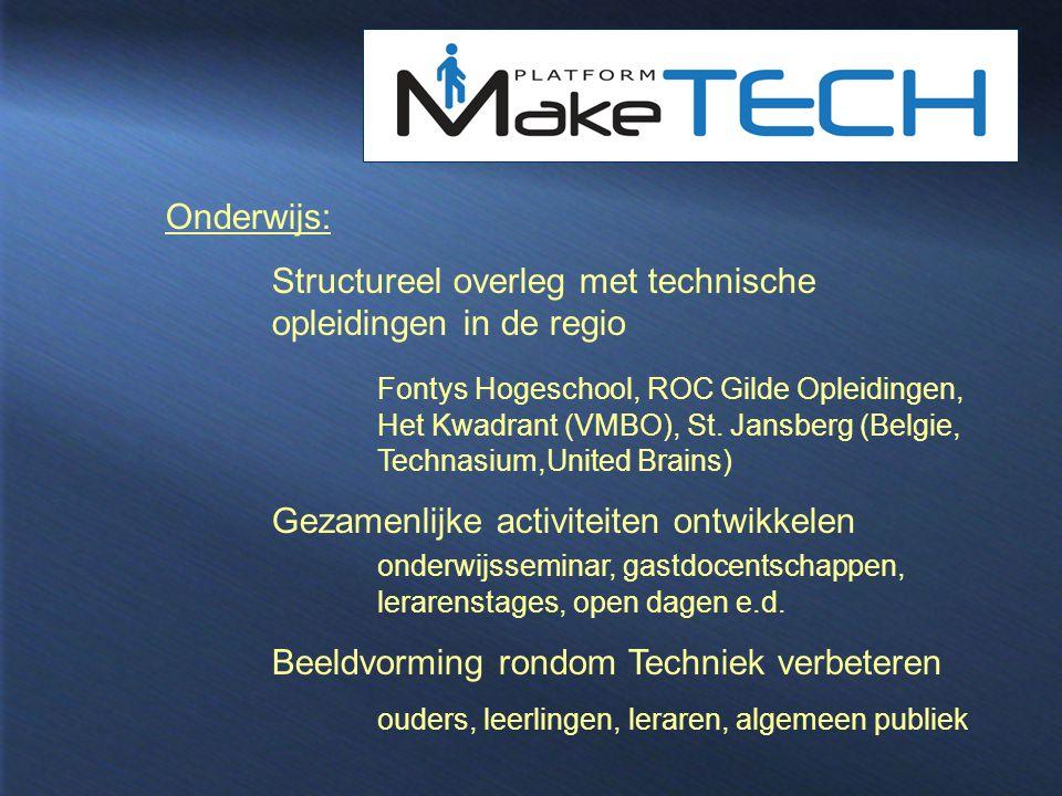 Structureel overleg met technische opleidingen in de regio