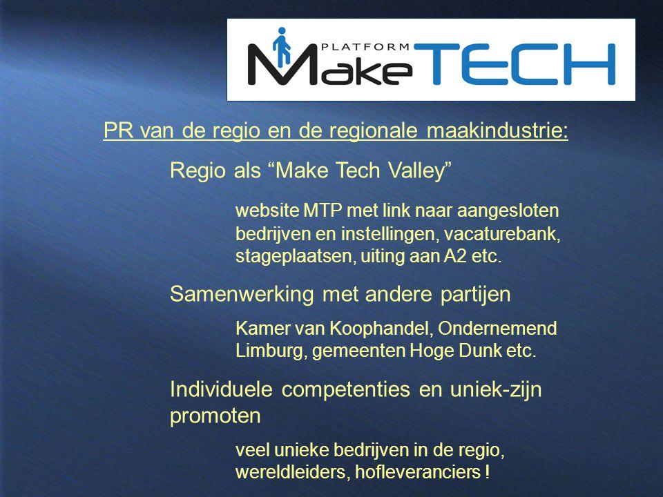 PR van de regio en de regionale maakindustrie: