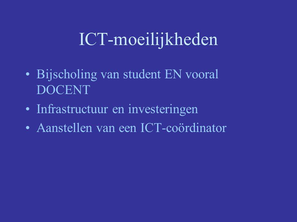 ICT-moeilijkheden Bijscholing van student EN vooral DOCENT