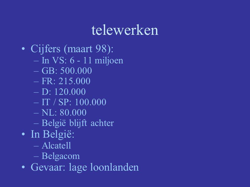 telewerken Cijfers (maart 98): In België: Gevaar: lage loonlanden