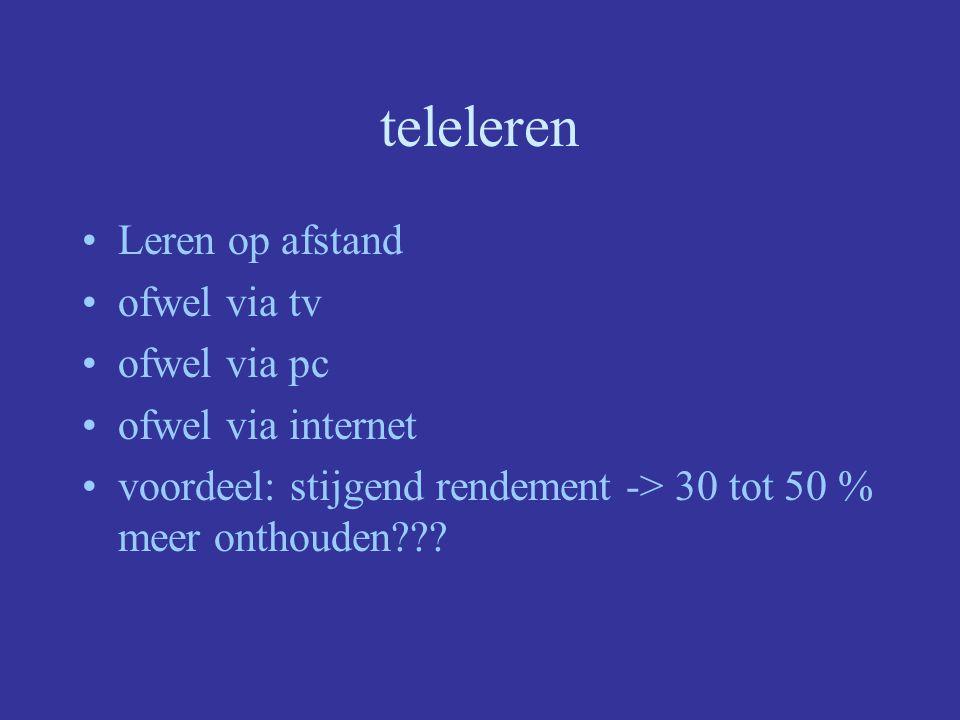 teleleren Leren op afstand ofwel via tv ofwel via pc