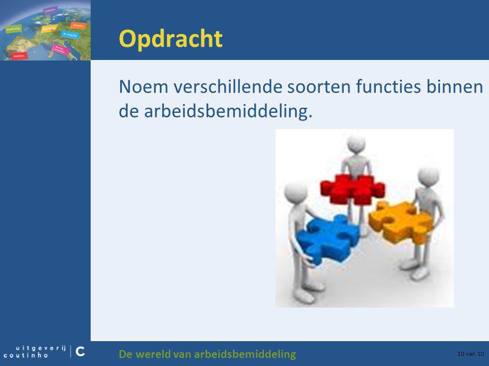 Opdracht Noem verschillende soorten functies binnen de arbeidsbemiddeling.