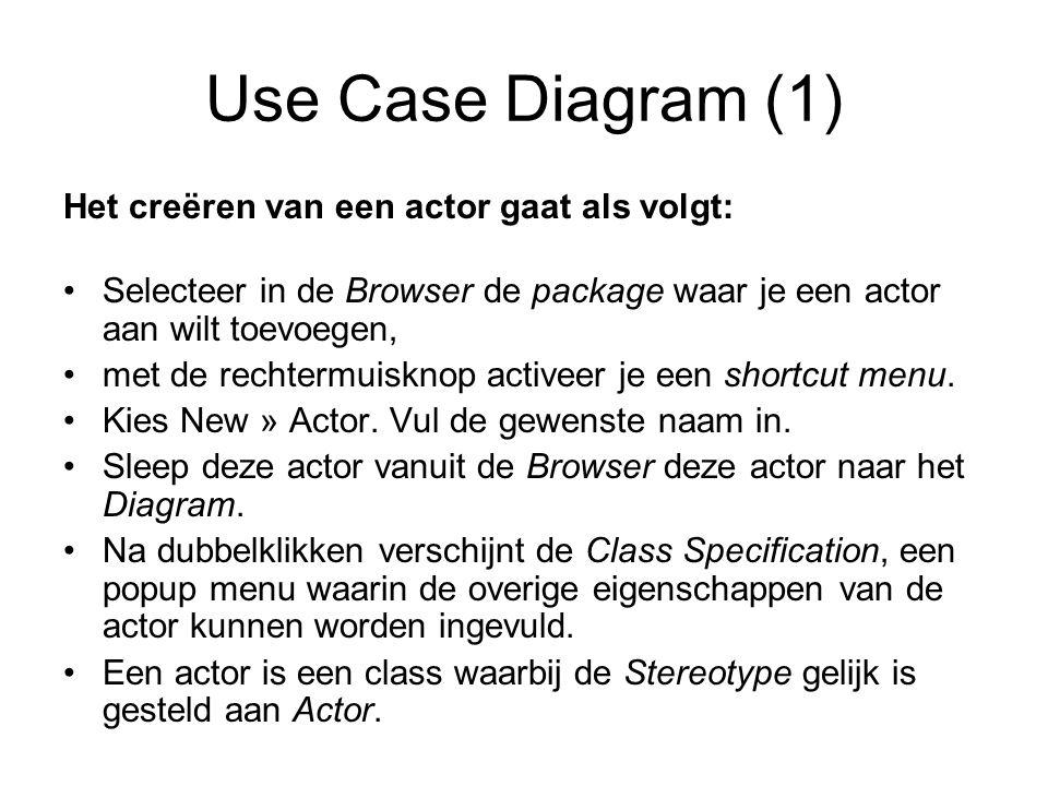 Use Case Diagram (1) Het creëren van een actor gaat als volgt:
