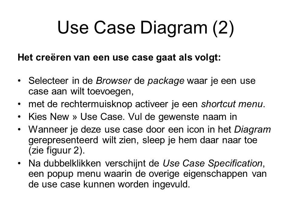 Use Case Diagram (2) Het creëren van een use case gaat als volgt: