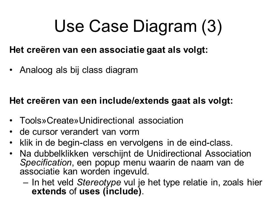 Use Case Diagram (3) Het creëren van een associatie gaat als volgt: