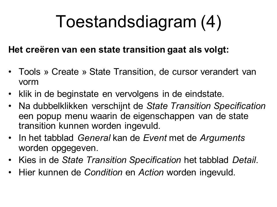 Toestandsdiagram (4) Het creëren van een state transition gaat als volgt: Tools » Create » State Transition, de cursor verandert van vorm.