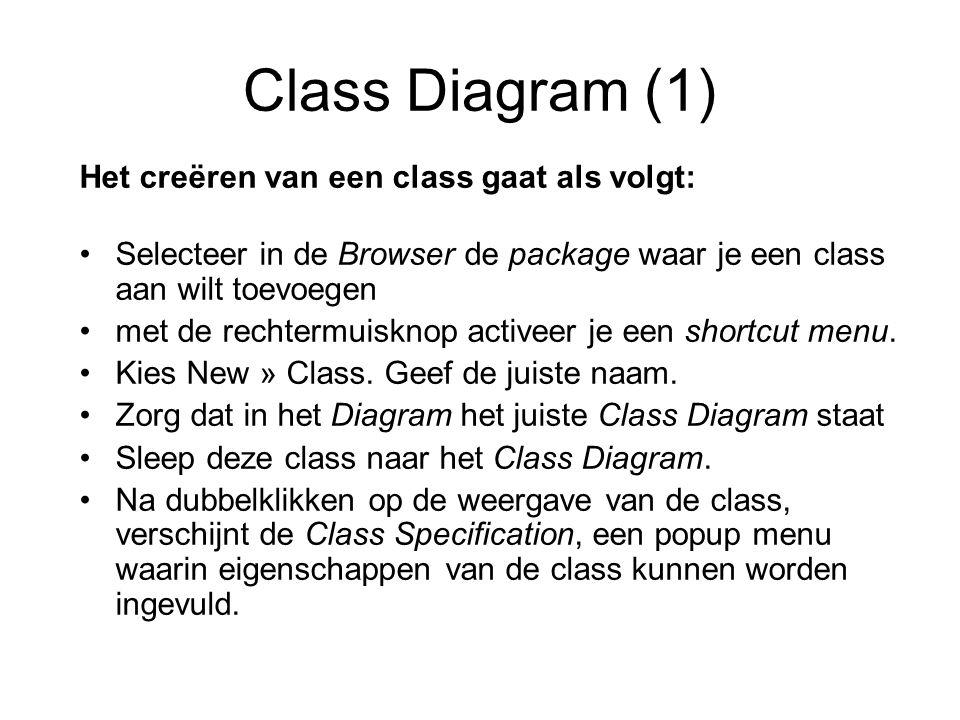 Class Diagram (1) Het creëren van een class gaat als volgt: