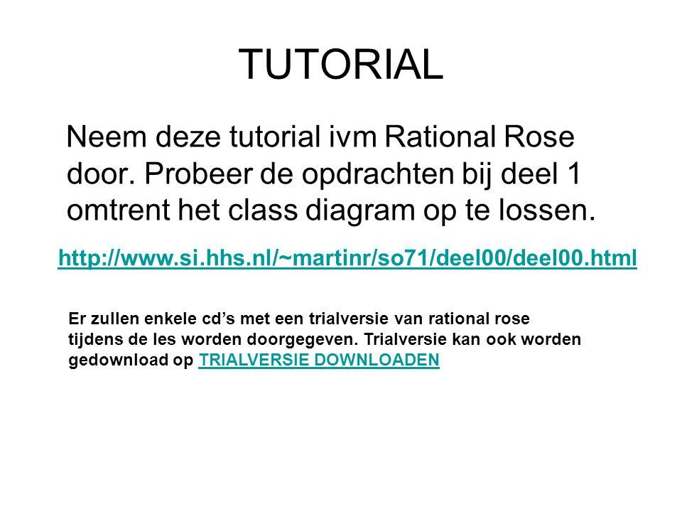 TUTORIAL Neem deze tutorial ivm Rational Rose door. Probeer de opdrachten bij deel 1 omtrent het class diagram op te lossen.