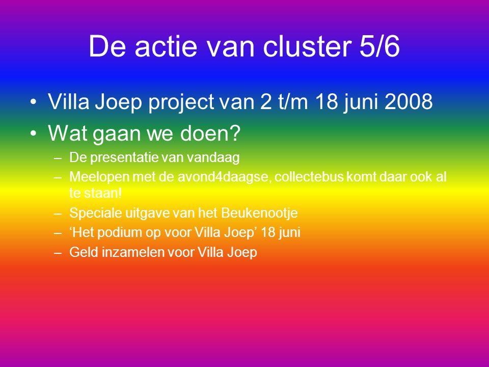De actie van cluster 5/6 Villa Joep project van 2 t/m 18 juni 2008